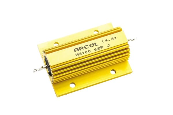 Product image for Arcol HS100 Series Aluminium Housed Axial Wire Wound Panel Mount Resistor, 68Ω ±5% 100W