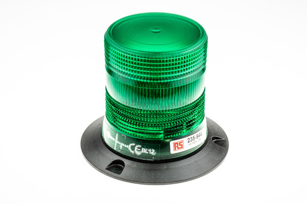 Product image for 10-100V 2W Grn Xenon beacon, 3 point fix