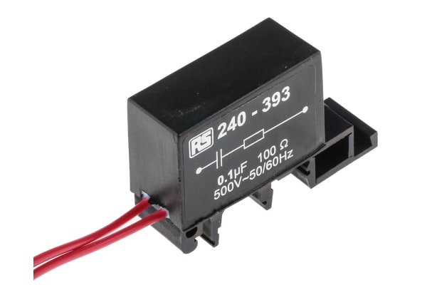 Product image for DIN RAIL,SINGLE,100NF 100R 500VAC