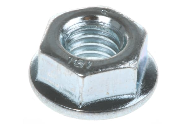 Product image for Zinc plated steel plain flange nut,M6
