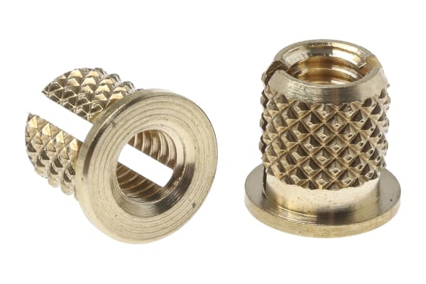 Product image for Brass pushin expansion insert,M3.5flange