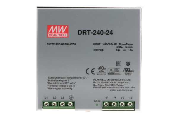 Product image for RS PSU,DIN Rail,three phase,wide range