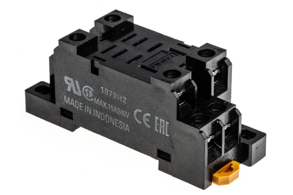 Product image for 2 pole DIN/surface mount relay base