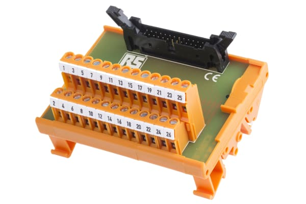 Product image for 26 way IDC header DIN rail terminal