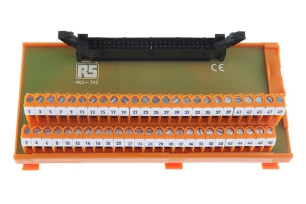 Product image for 50 way IDC header DIN rail terminal