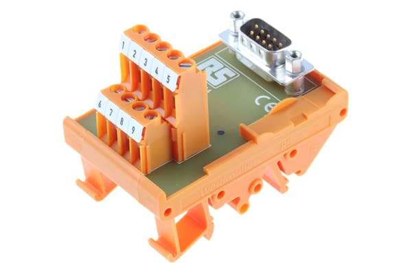 Product image for 9 way D plug DIN rail terminal