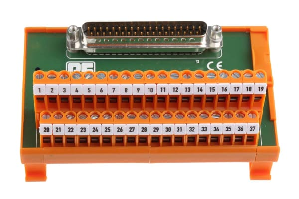 Product image for 37 way D plug DIN rail terminal