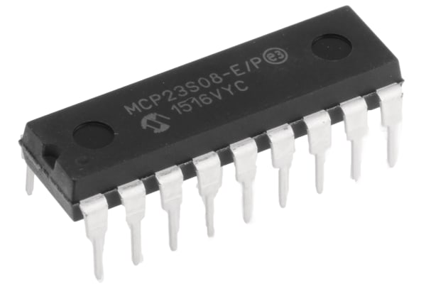 Product image for 8-bit I/O Expander,SPI,MCP23S08-E/P