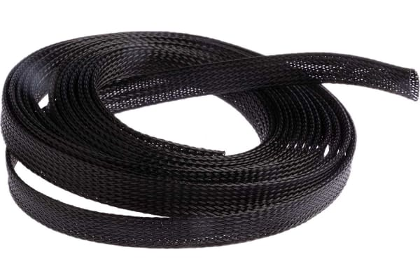 Product image for Black Expandable braided sleeve,15mm dia