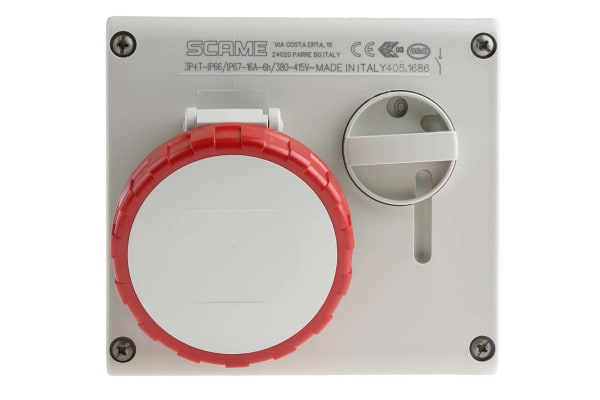 Product image for RED IP67 3P+E SW INTERLOCK SKT,HOR.,16A