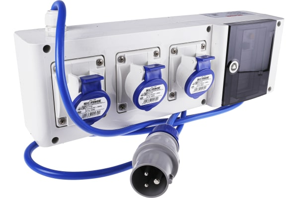 Product image for Blue 2P+E RCD protected socket,16A 230V