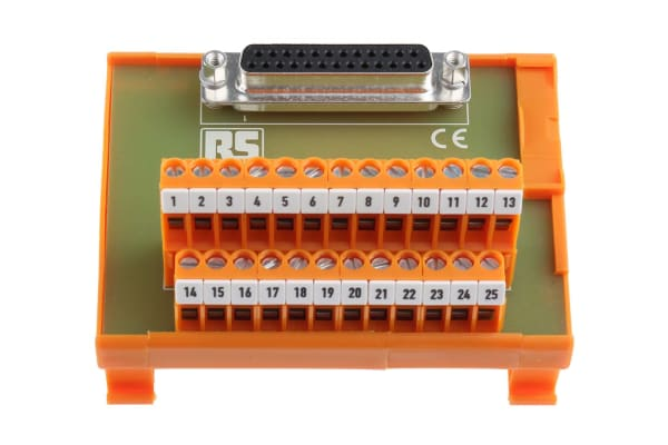 Product image for 25 way D socket DIN rail terminal