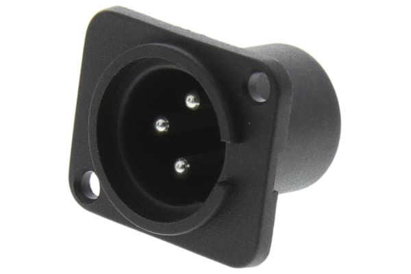 Product image for 3 way chassis mount XLR plastic plug 16A