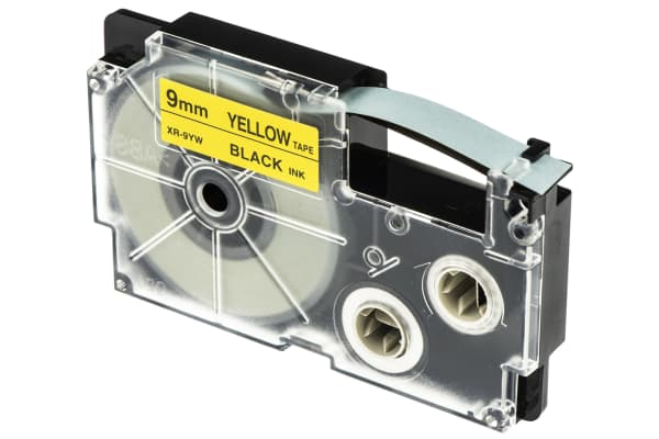 Product image for CASIO BLACK ON YELLOW LABELLING TAPE,9MM