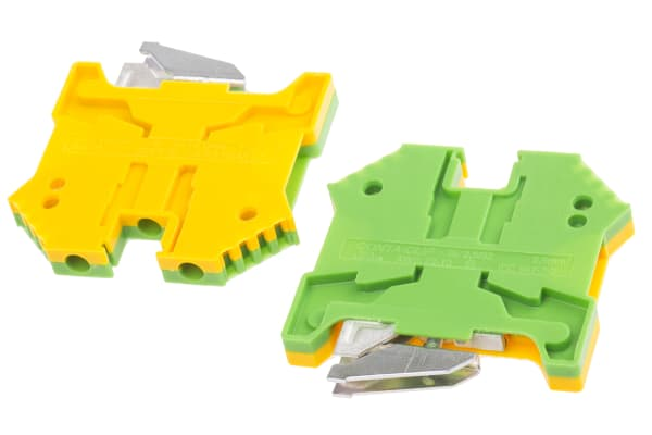 Product image for Earth terminal 2.5mm G rail Grn/Ylw