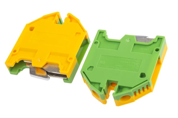 Product image for Earth terminal 16mm G rail Grn/Ylw