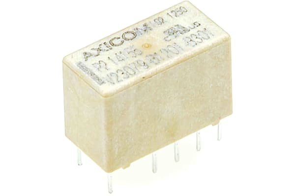 Product image for DPDT latch PCB relay, 5A 5Vdc coil (x2)