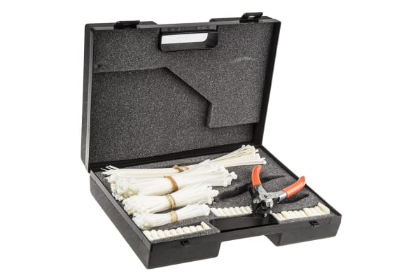 Product image for WHITE CABLE TIE & BASE KIT,BLACK CASE