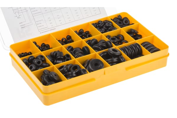 Product image for Black PVC cable grommet kit