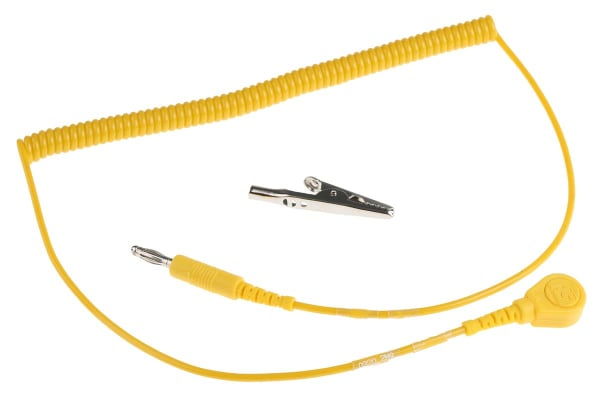 Product image for 10mm stud-banana cord,1.8m L 2meg coil