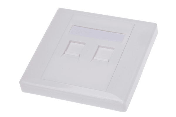 Product image for Shuttered face plate 2port white