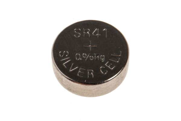 Product image for SR41 Silver Oxide Coin Cell,1.55V 42mAh