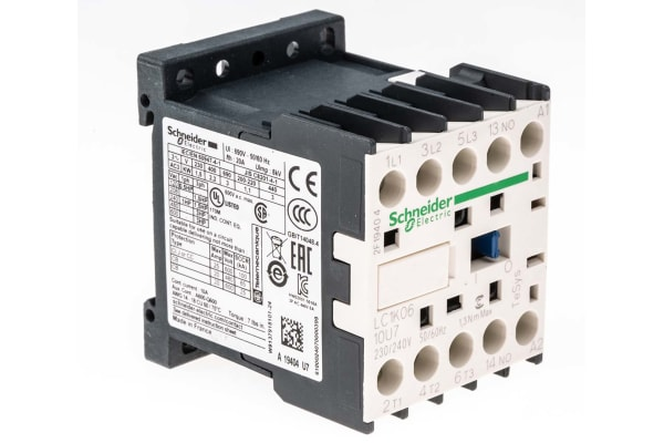 Product image for 3 pole contactor,2.2kW,6A,240Vac,1NO