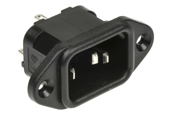 Product image for BLACK FLANGE FIXED PLUG,2.8MM 10A 250VAC