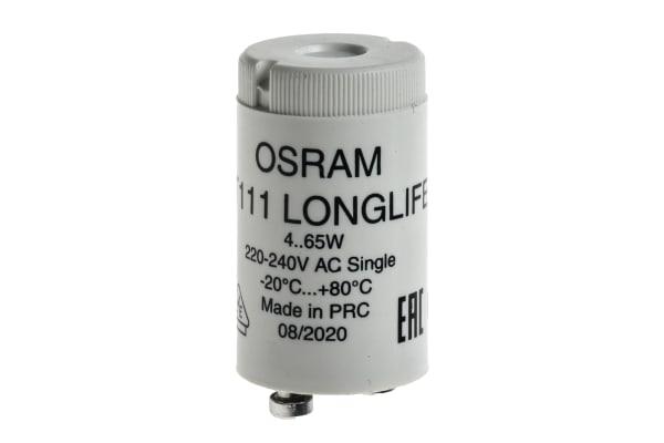 Product image for Osram ST111LL, Glow Fluorescent Light Starter, 65 W, 220 → 240 V ac, 40.3 mm length , 21.5mm Diameter