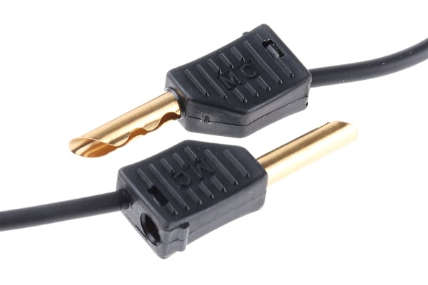 Product image for 1m black stackable plug test lead kit
