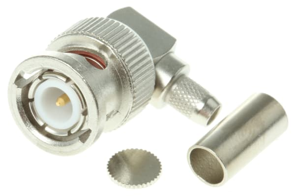 Product image for BNC ANGLED PLUG, CRIMP, 50OHM, RG58C/U