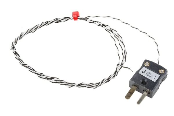Product image for Type J IEC 1/0.2mm Thermocouple+Plug 1m