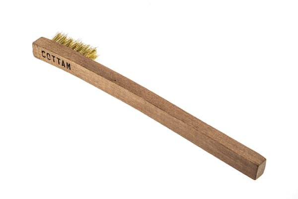 Product image for Wooden angled brush with brass bristle
