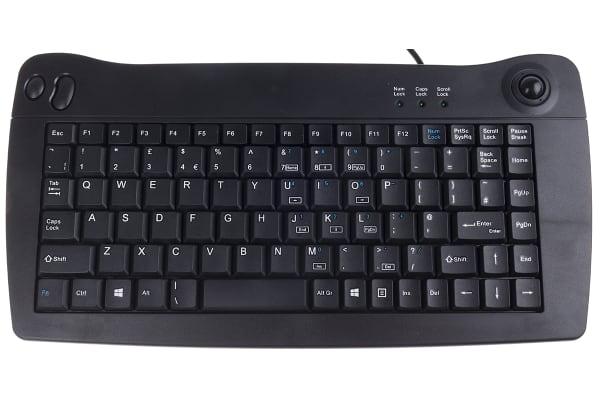 Product image for RS Pro Mini USB Trackball Keyboard Black