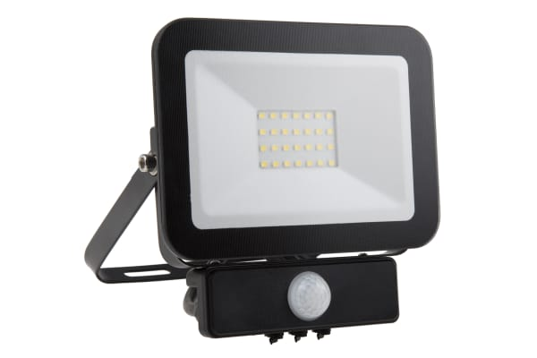 Product image for FRAMELESS 20W LED FLOOD BK 4000K + PIR