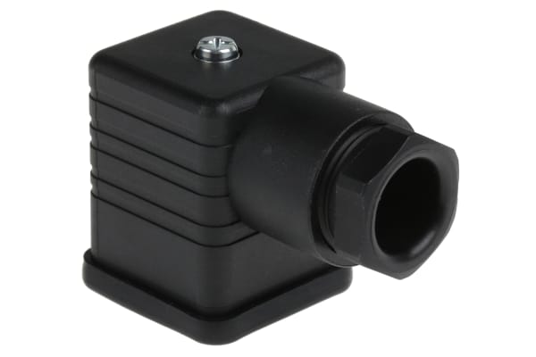 Product image for Hirschmann 3P+E DIN 43650 A Solenoid Valve Connector, Female, Central Nut, GDM Series, 16A, 250 V ac/dc, IP65