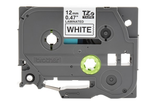 Product image for Brother Black on White Label Printer Tape, 12 mm Width, 8 m Length