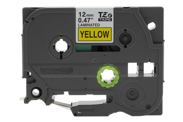 Product image for Brother Black on Yellow Label Printer Tape, 12 mm Width, 8 m Length