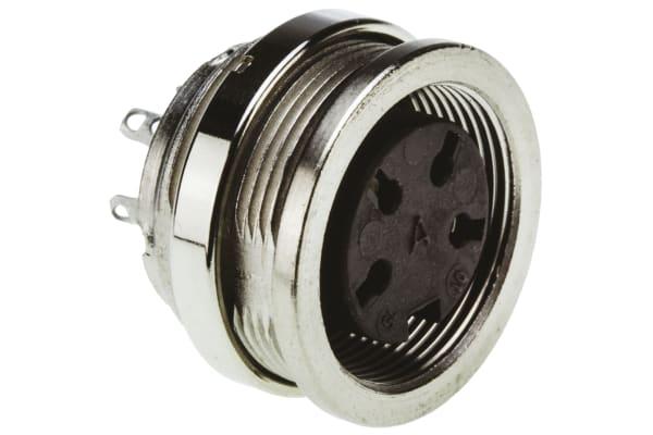 Product image for 4 way IP67 DIN panel socket,5A 250V