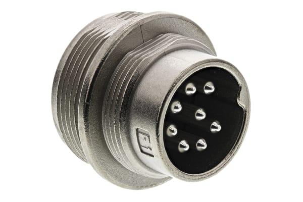 Product image for 8 way IP67 DIN panel mount plug,5A 250V
