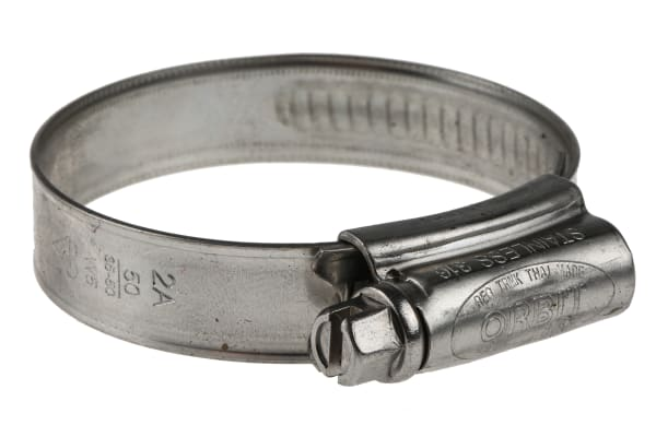 Product image for RS PRO Stainless Steel 316 Slotted Hex Hose Clip, 12mm Band Width, 35mm - 50mm Inside Diameter