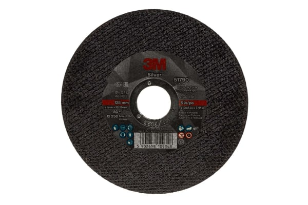 Product image for 3M Silver Aluminium Oxide Cutting Disc, 125mm x 1mm Thick, Fine Grade, P120 Grit, T41