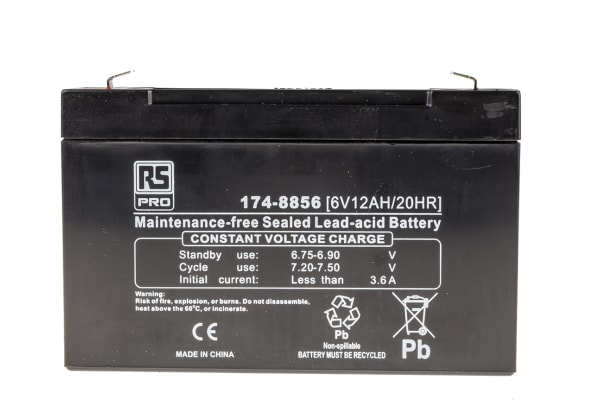 Product image for RS PRO Lead Acid Battery - 6V, 12Ah