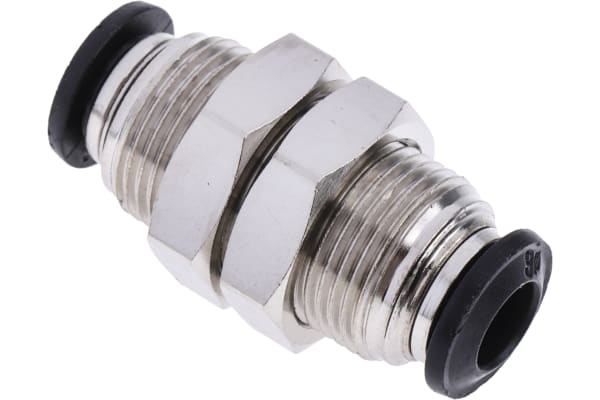 Product image for RS PRO Pneumatic Bulkhead Fitting Bulkhead Connector Push In 6 mm to Push In 6 mm