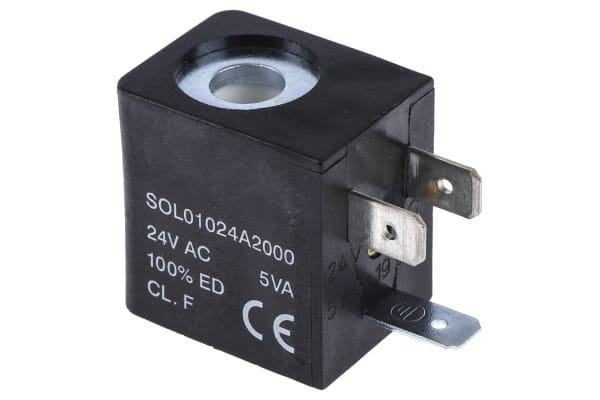 Product image for RS PRO 24V ac 5VA Replacement Solenoid Coil, Compatible With 01V Series Valve