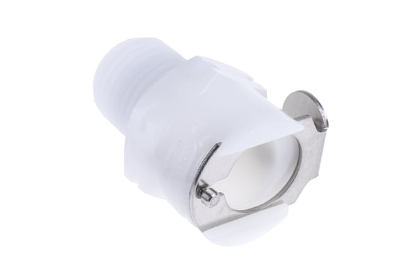 Product image for Straight Hose Coupling 1/4in Coupling Body - Valved, Thread Mount, 1/4 in R Male, Acetal