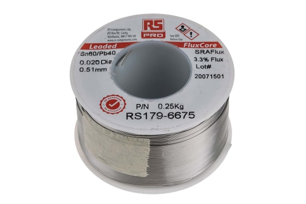 Product image for RS PRO 0.5mm Lead solder, +183°C Melting Point