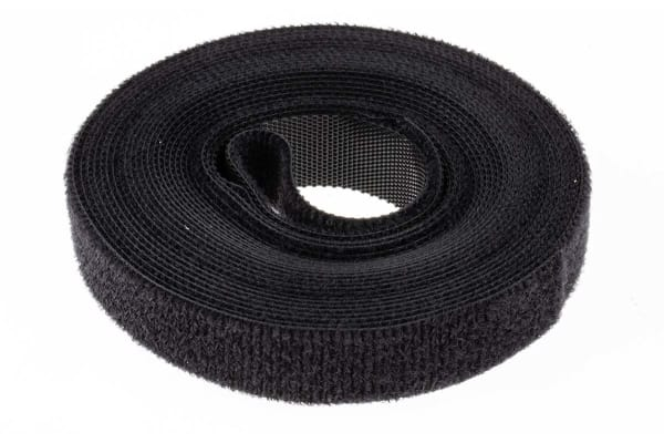 Product image for Black hook & loop reel,5m x 16mm reel