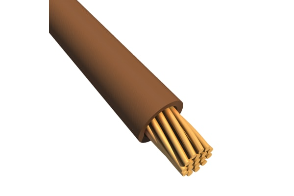 Product image for RS PRO Brown Tri-rated Cable, 0.5 mm² CSA, 1 kV dc, 600 V ac, 11 A, 100m