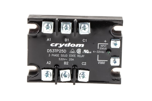Product image for 3PHASE SOLID STATE RELAY,25A 48-530VAC